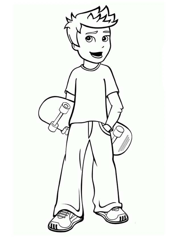 Polly Pocket, : Rick Want to Play Skateboard in Polly Pocket Coloring Pages