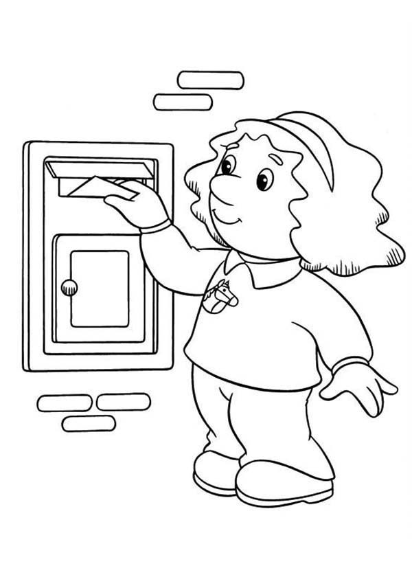 Postman Pat, : Sarah Put a Letter to Mailbox in Postman Pat Coloring Pages