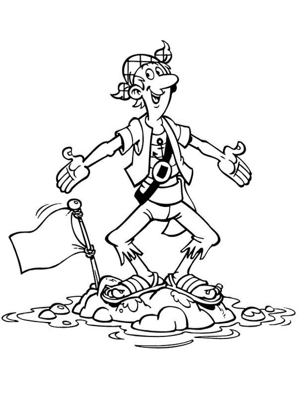 Piet Pirate, : Silent Steven Standing on Little Island in Piet Pirate Coloring Pages