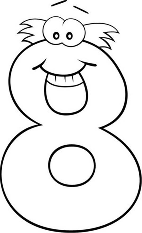 Number 8, : Smiling Number 8 Coloring Page