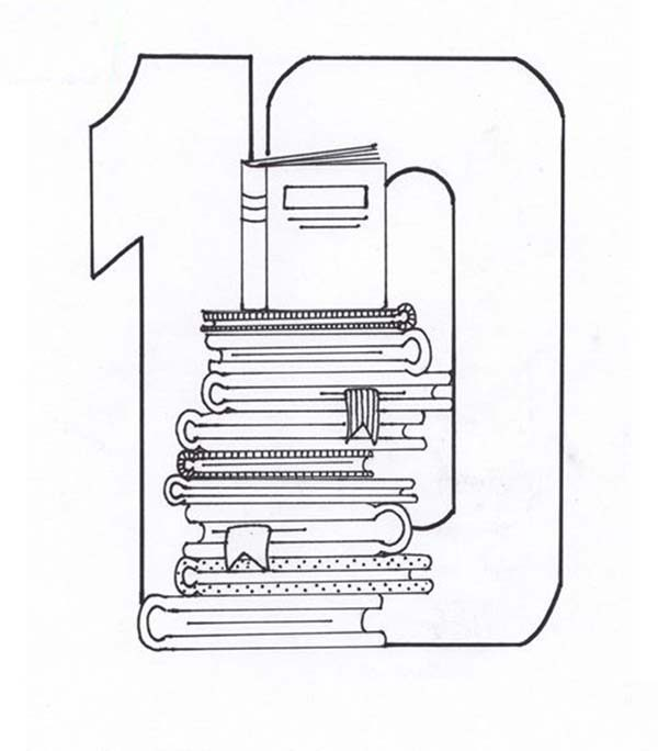 Number 10, : Stack of Books for Number 10 Coloring Page