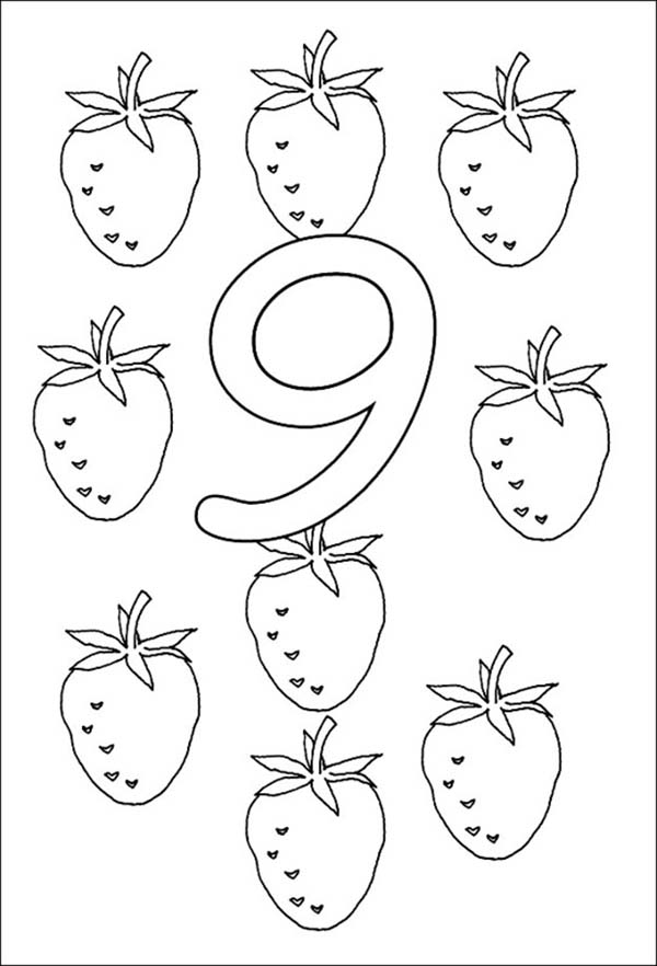 Number 9, : Strawberry for Learn Number 9 Coloring Page