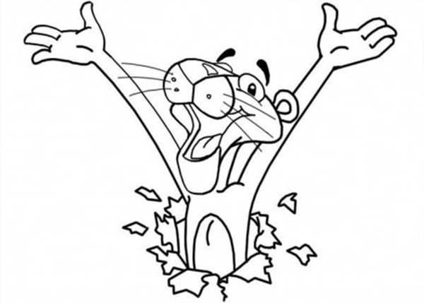 Pink Panther, : Surprised Pink Panther Coloring Pages
