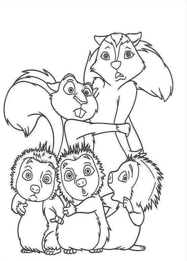 Over the Hedge, : Three Little Hedgehog in Over the Hedge Coloring Pages