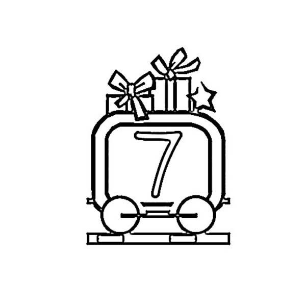 Number 7, : Train Number 7 Coloring Page