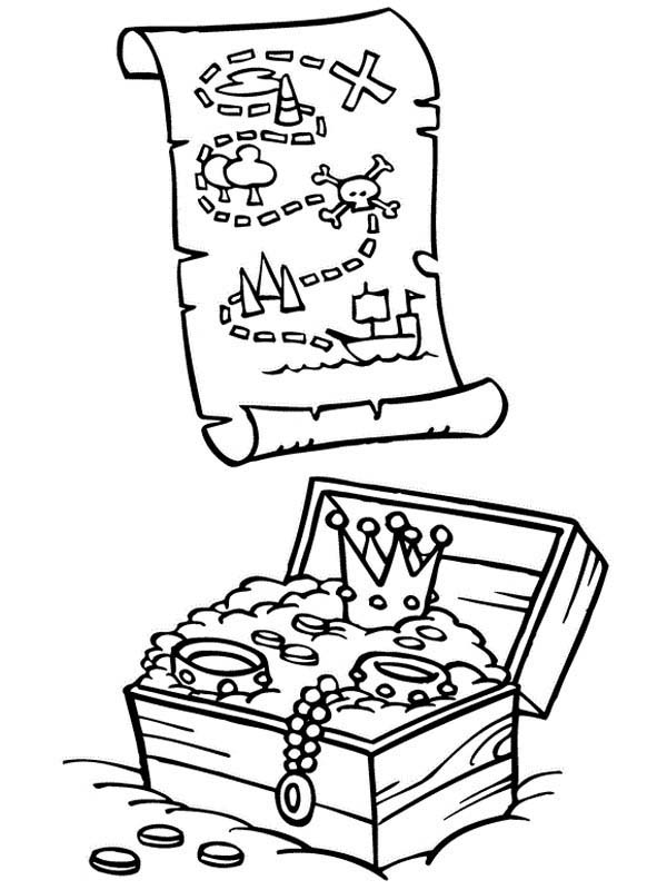 Piet Pirate, : Treasure Map and Treasure Chest of Piet Pirate Coloring Pages