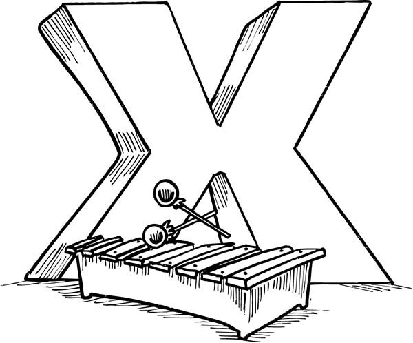 Letter X, : Upper Case Letter X Coloring Page