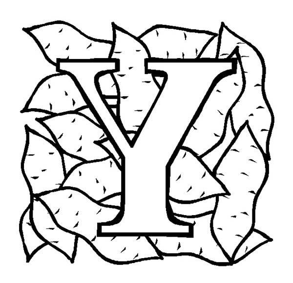 Letter Y, : Upper Case Letter Y for Kids Coloring Page