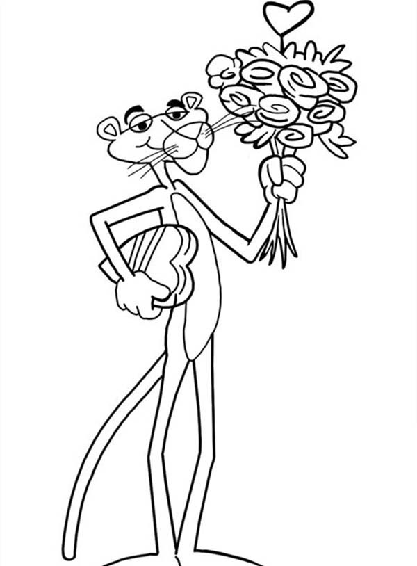 Pink Panther, : Valentine Pink Panther Coloring Pages