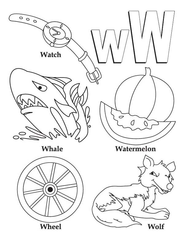 Letter W, : Various Words from Letter W Coloring Page