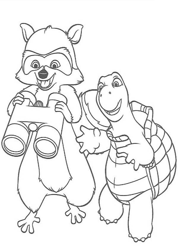 Over the Hedge, : Verne and RJ Peeking with Binocular in Over the Hedge Coloring Pages
