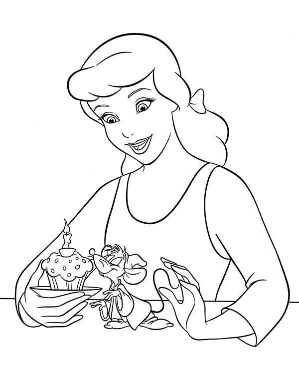 Princesses Birthday, : Walt Disney Princess Cinderella Birthday Cake in Princesses Birthday Coloring Pages