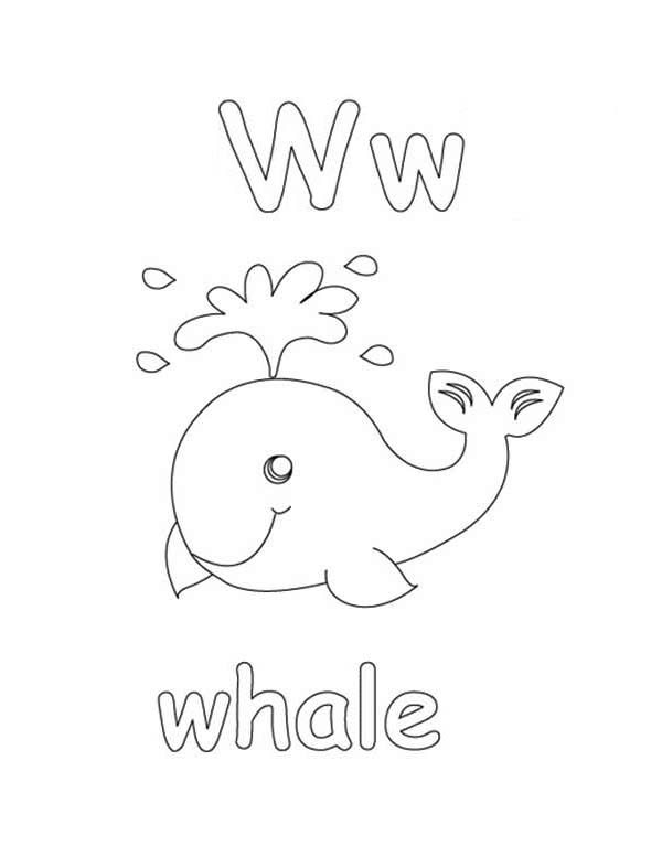 Letter W, : Whale is for Alphabet Letter W Coloring Page