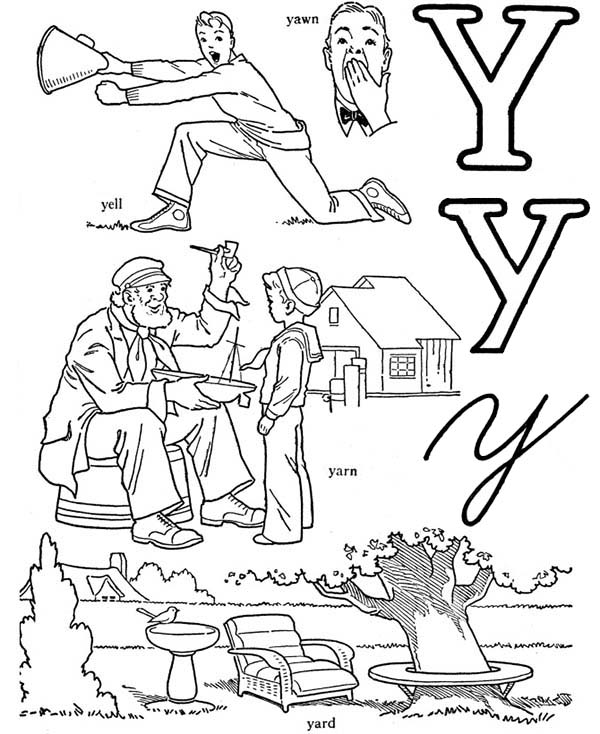 Letter Y, : Words Comes Out from Letter Y Coloring Page