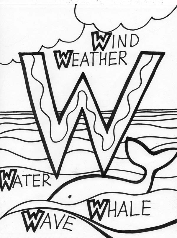 Letter W, : Words from Alphabet Letter W Coloring Page