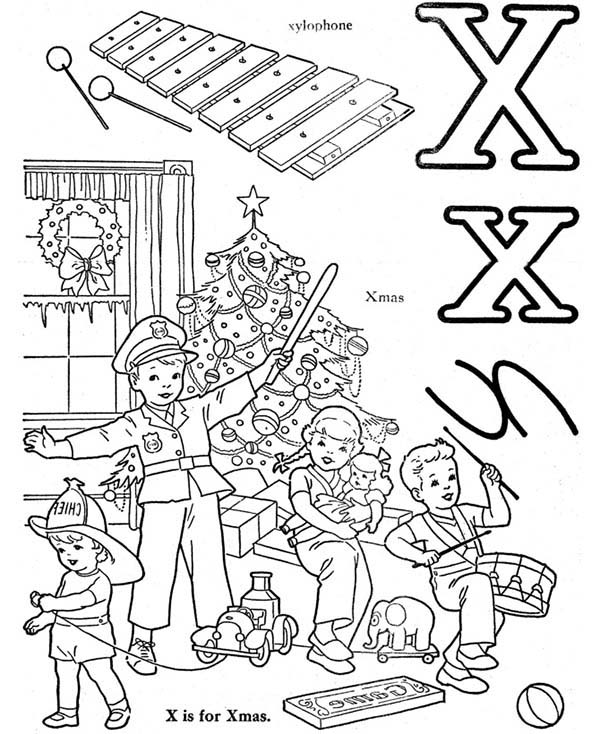 Letter X, : Words from Letter X Coloring Page