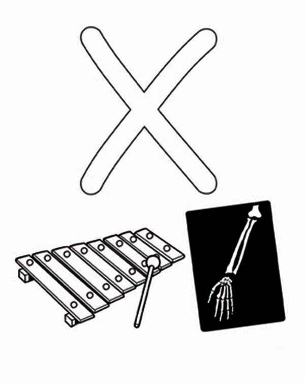 Letter X, : Xylophone and X Ray for Learning Letter X Coloring Page