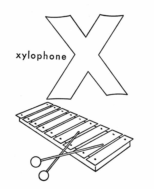 Letter X, : Xylophone for Letter X Coloring Page