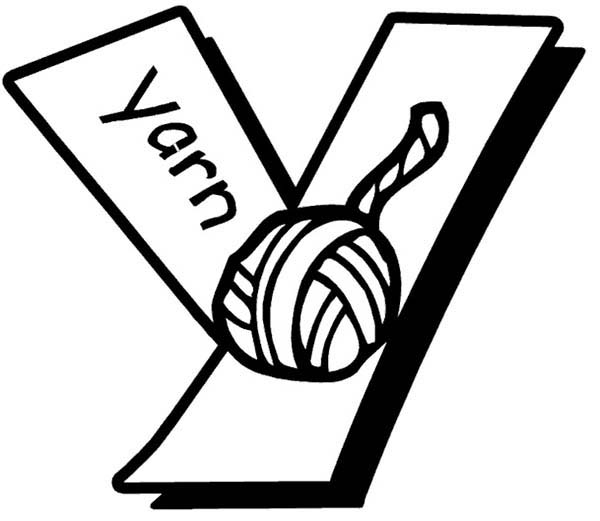 Letter Y, : Yarn for Letter Y Coloring Page