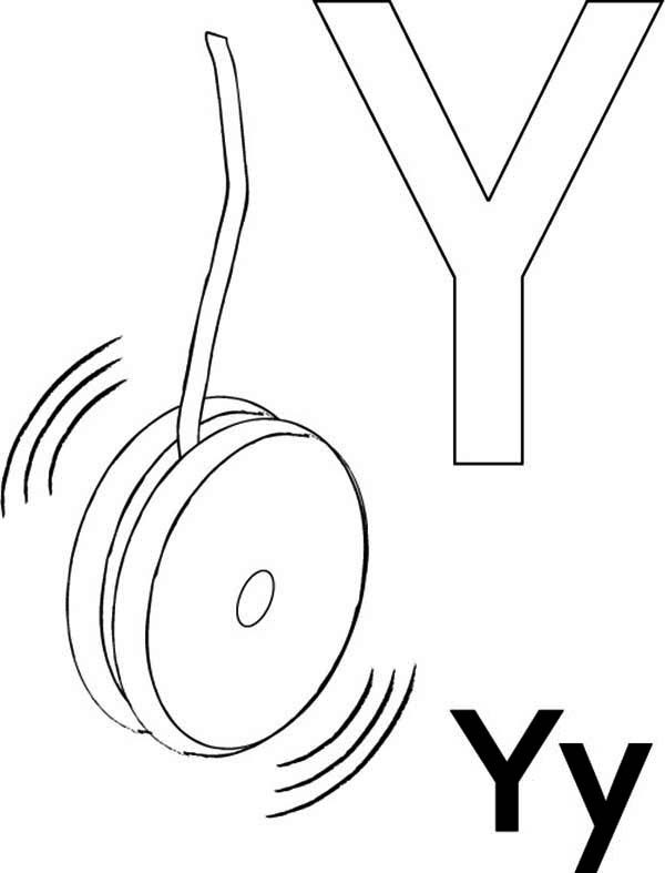 Letter Y, : Yo Yo for Letter Y Coloring Page