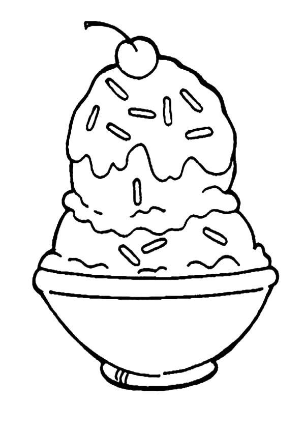 Ice Cream, : A Bowl of Ice Cream Covered with Choco Sprinkles Coloring Pages