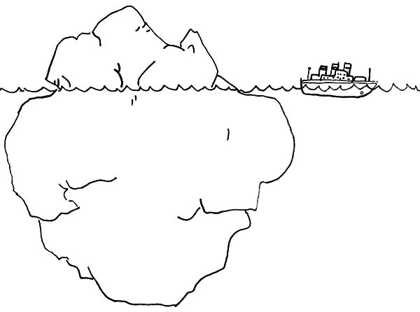 Iceberg, : A Ship Passing Through Iceberg Coloring Pages