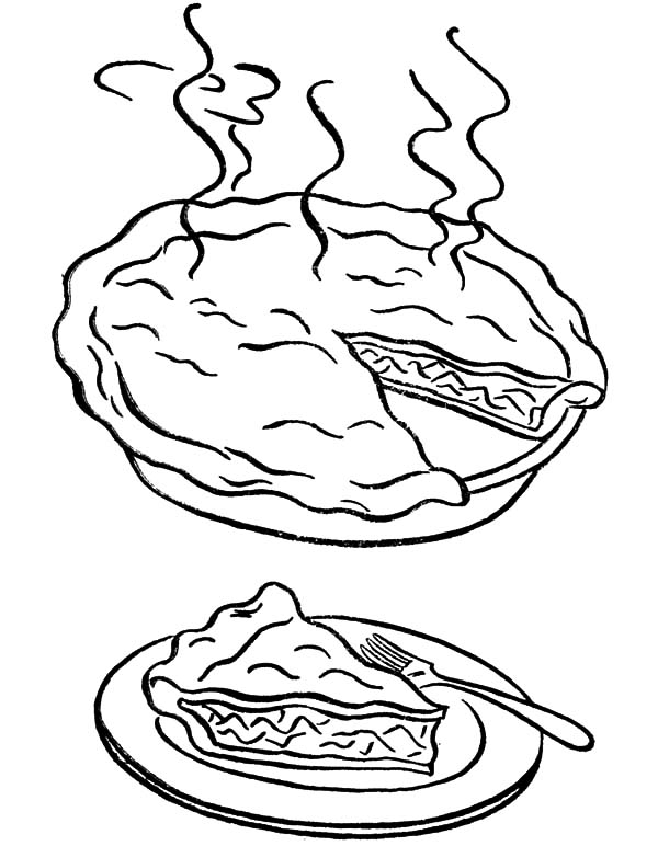 Apple Pie, : A Warm Piece of the Apple Pie Coloring Pages