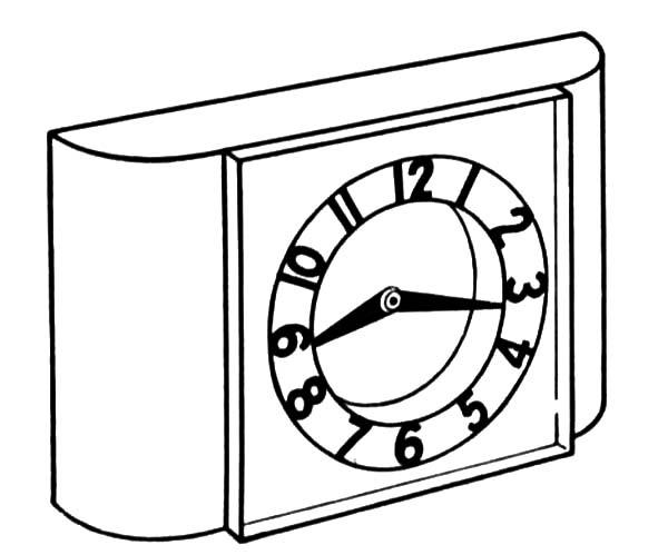 Analog Clock, : Alarm Analog Clock Coloring Pages