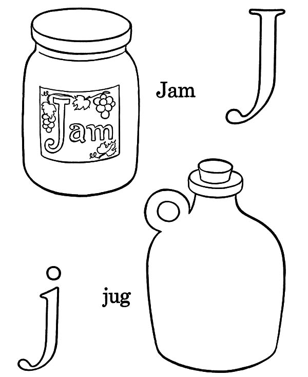 Jar, : Alphabet J for Jar Coloring Pages