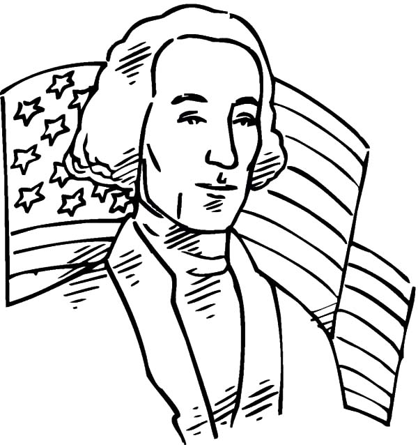 American Revolution Flag, : American Revolution Flag Behind United States of America First President Coloring Pages