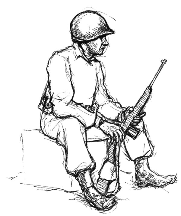 Army, : An Army Man Sitting with Carbine Coloring Pages