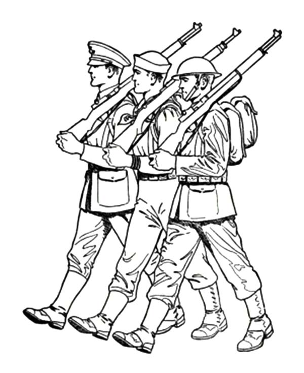 Army, : An Army March Coloring Pages