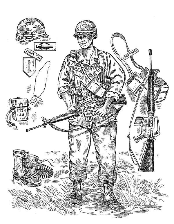 Army, : An Army Soldier Gear Coloring Pages