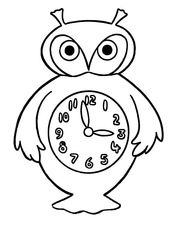Analog Clock, : An Owl Analog Clock Coloring Pages