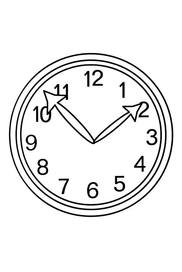 Analog Clock, : Analog Clock Image Coloring Pages