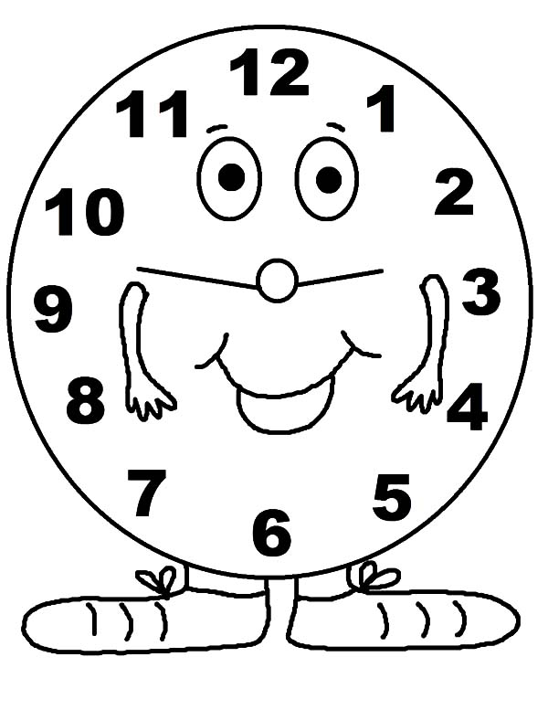 Analog Clock, : Analog Clock Standing on Feet Coloring Pages
