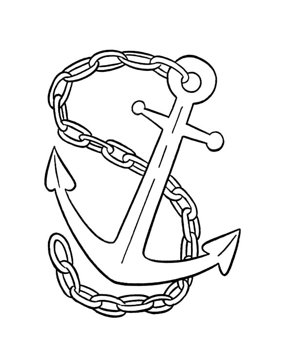 Anchor, : Anchor Tied with Chain Coloring Pages