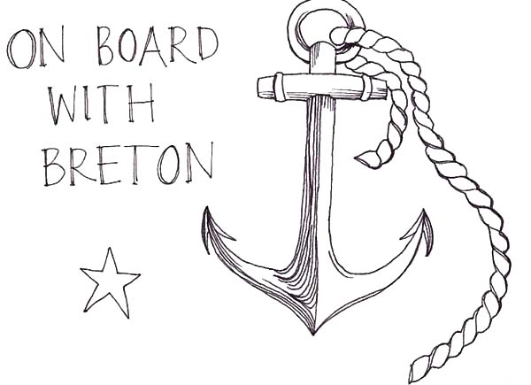 Anchor, : Anchor on Board with Breton Coloring Pages