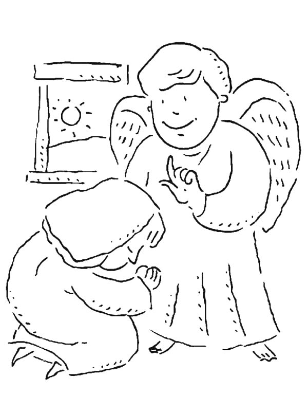 Angel Appears To Mary, : Angel Appears to Mary and She Bow Under Him Coloring Pages