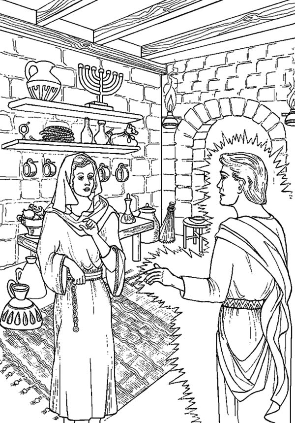 Angel Appears To Mary, : Angel Appears to Mary in Bright Light Coloring Pages