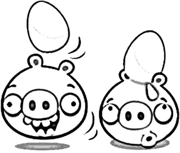 Angry Bird Pigs, : Angry Bird Pigs Hatching from Eggs Coloring Pages