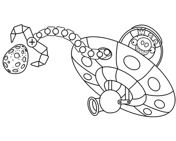 Angry Bird Pigs King Space Ship Coloring Pages