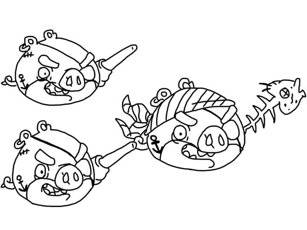Angry Bird Pigs, : Angry Bird Pigs Pirates Coloring Pages