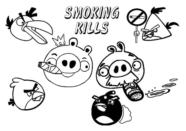 Angry Bird Pigs, : Angry Bird Pigs Smoking Kills Advertisement Coloring Pages