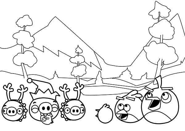 Angry Bird Pigs, : Angry Bird Pigs in Peace with Angry Brids Coloring Pages