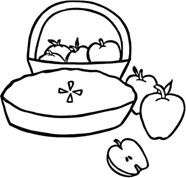 Apple Pie, : Apple Pie and A Basket of Apples Coloring Pages