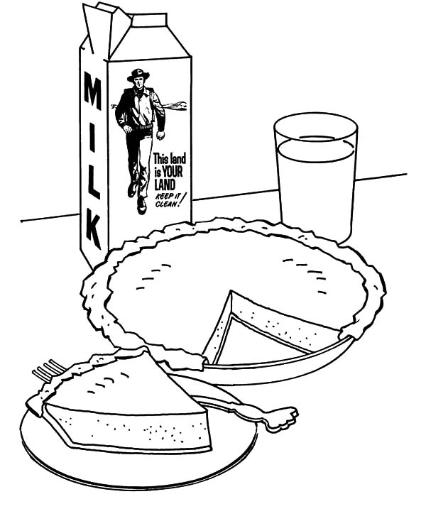 Apple Pie, : Apple Pie and Milk Coloring Pages