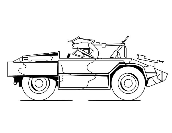Army Car, : Army Car Jeep for Patrol Coloring Pages