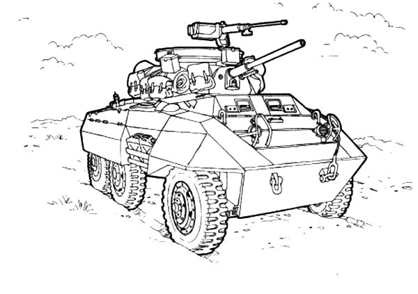 Army Car, : Army Car for Combat Coloring Pages