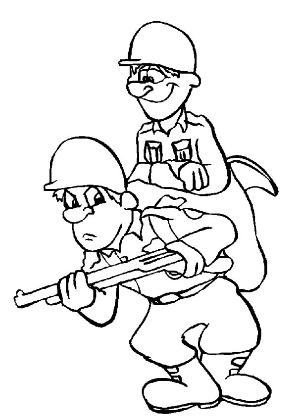 Army, : Army Sneaking Around Coloring Pages